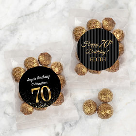 Personalized Milestone 70th Birthday Candy Bags with Premium Gourmet Sparkling Prosecco Cordials
