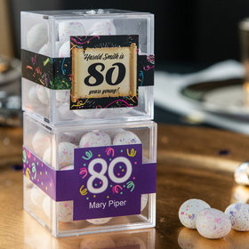 Personalized Milestone 80th Birthday JUST CANDY® favor cube with Premium Confetti Cookie Bites