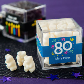 Personalized Milestone 80th Birthday JUST CANDY® favor cube with Gummy Bears