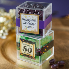 Personalized Milestone 80th Birthday JUST CANDY® favor cube with Jelly Belly Jelly Beans