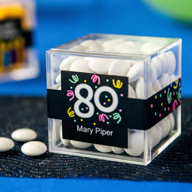 Personalized Milestone 80th Birthday JUST CANDY® favor cube with Just Candy Milk Chocolate Minis