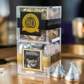 Personalized Milestone 80th Birthday JUST CANDY® favor cube with Hershey's Kisses