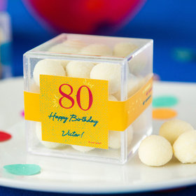 Personalized Milestone 80th Birthday JUST CANDY® favor cube with Premium Sugar Cookie Bites