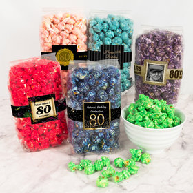 Personalized Milestone 80th Birthday Candy Coated Popcorn 8 oz Bags