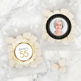 Personalized Milestone 80th Birthday Candy Bags with Jelly Belly Champagne Bubble Gumdrops
