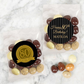 Personalized Milestone 80th Birthday Candy Bags with Premium Gourmet New York Espresso Beans