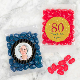 Personalized Milestone 80th Birthday Candy Bags with Jelly Belly Jelly Beans