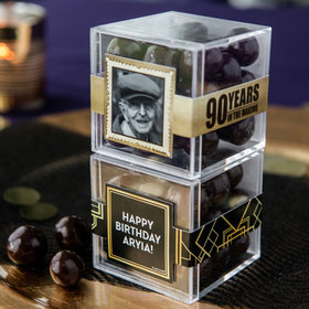 Personalized Milestone 90th Birthday JUST CANDY® favor cube with Premium Barrel Aged Bourbon Cordials - Dark Chocolate