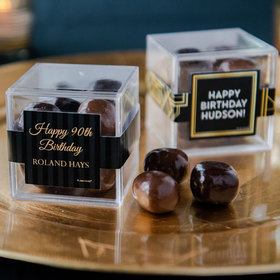 Personalized Milestone 90th Birthday JUST CANDY® favor cube with Premium Milk & Dark Chocolate Sea Salt Caramels