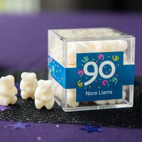 Personalized Milestone 90th Birthday JUST CANDY® favor cube with Gummy Bears