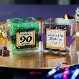 Personalized Milestone 90th Birthday JUST CANDY® favor cube with Jelly Belly Jelly Beans