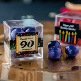 Personalized Milestone 90th Birthday JUST CANDY® favor cube with Premium Malted Milk Balls