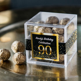 Personalized Milestone 90th Birthday JUST CANDY® favor cube with Premium Sparkling Prosecco Cordials - Dark Chocolate