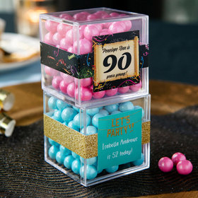 Personalized Milestone 90th Birthday JUST CANDY® favor cube with Sixlets Chocolate