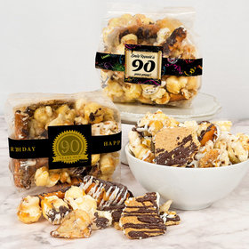 Personalized Milestone 90th Birthday Trendy Trash Gourmet Popcorn 3.5 oz Bags
