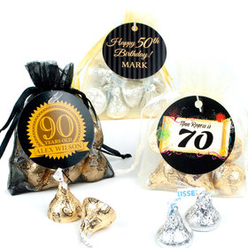Personalized Milestones Birthday Favor Assembled Organza Bag with Hershey's Kisses