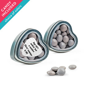 Personalized Milestones Birthday Favor Assembled Heart Tin with Just Candy Milk Chocolate Minis