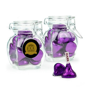 Personalized Milestones 100th Birthday Favor Assembled Swing Top Jar with Hershey's Kisses