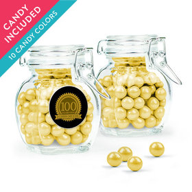 Personalized Milestones 100th Birthday Favor Assembled Swing Top Jar with Sixlets