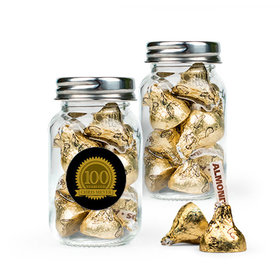 Personalized Milestones 100th Birthday Favor Assembled Mini Mason Jar with Hershey's Kisses