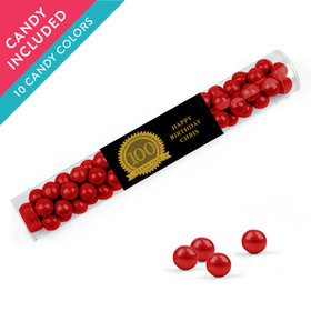 Personalized Milestones 100th Birthday Favor Assembled Clear Tube with Sixlets
