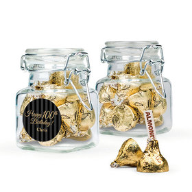 Personalized Milestones 100th Birthday Favor Assembled Swing Top Square Jar with Hershey's Kisses