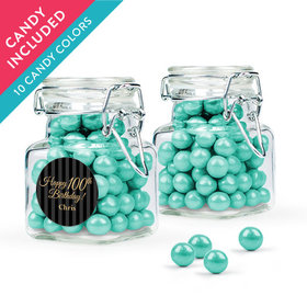 Personalized Milestones 100th Birthday Favor Assembled Swing Top Square Jar with Sixlets
