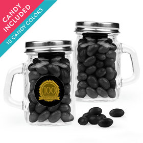 Personalized Milestones 100th Birthday Favor Assembled Mini Mason Mug with Just Candy Jelly Beans
