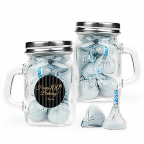 Personalized Milestones 100th Birthday Favor Assembled Mini Mason Mug with Hershey's Kisses