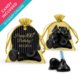 Personalized Milestones 100th Birthday Favor Assembled Organza Bag with Hershey's Kisses