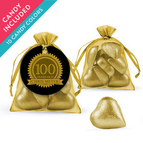 Personalized Milestones 100th Birthday Favor Assembled Organza Bag with Milk Chocolate Hearts