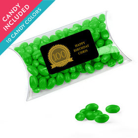 Personalized Milestones 100th Birthday Favor Assembled Pillow Box with Just Candy Jelly Beans