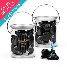 Personalized Milestones 100th Birthday Favor Assembled Paint Can with Hershey's Kisses