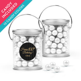 Personalized Milestones 100th Birthday Favor Assembled Paint Can with Sixlets