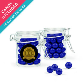 Personalized Milestones 100th Birthday Favor Assembled Swing Top Round Jar with Sixlets