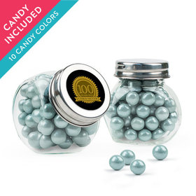 Personalized Milestones 100th Birthday Favor Assembled Mini Side Jar with Sixlets