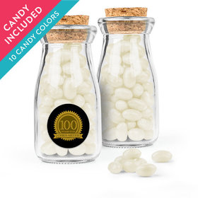 Personalized Milestones 100th Birthday Favor Assembled Glass Bottle with Cork Top with Just Candy Jelly Beans