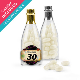 Personalized Milestones 30th Birthday Favor Assembled Champagne Bottle with Just Candy Jelly Beans