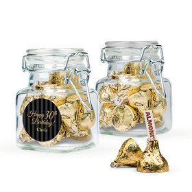 Personalized Milestones 30th Birthday Favor Assembled Swing Top Square Jar with Hershey's Kisses