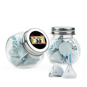 Personalized Milestones 30th Birthday Favor Assembled Mini Side Jar with Hershey's Kisses