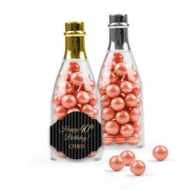 Personalized Milestones 40th Birthday Favor Assembled Champagne Bottle with Sixlets