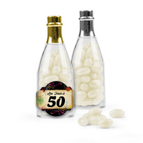 Personalized Milestones 50th Birthday Favor Assembled Champagne Bottle with Just Candy Jelly Beans