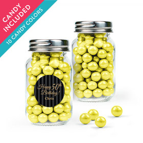 Personalized Milestones 50th Birthday Favor Assembled Mini Mason Jar with Sixlets