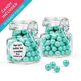 Personalized Milestones 50th Birthday Favor Assembled Swing Top Square Jar with Sixlets