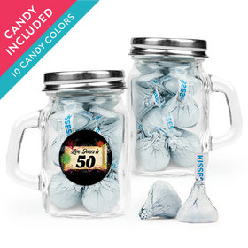 Personalized Milestones 50th Birthday Favor Assembled Mini Mason Mug with Hershey's Kisses