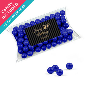 Personalized Milestones 50th Birthday Favor Assembled Pillow Box with Sixlets