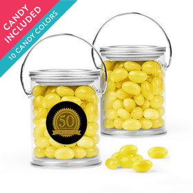 Personalized Milestones 50th Birthday Favor Assembled Paint Can with Just Candy Jelly Beans