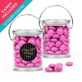 Personalized Milestones 50th Birthday Favor Assembled Paint Can with Just Candy Milk Chocolate Minis