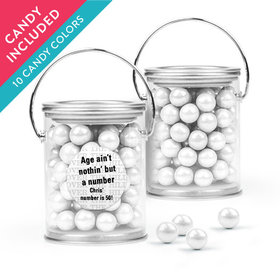 Personalized Milestones 50th Birthday Favor Assembled Paint Can with Sixlets