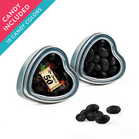 Personalized Milestones 50th Birthday Favor Assembled Heart Tin with Just Candy Jelly Beans